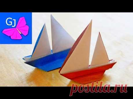 Origami a sailing vessel from paper