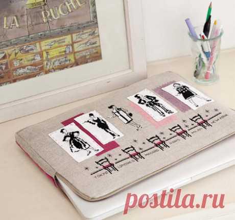 Стильный чехол для ноутбука с вышивкой. Выкройка. Схема вышивки.