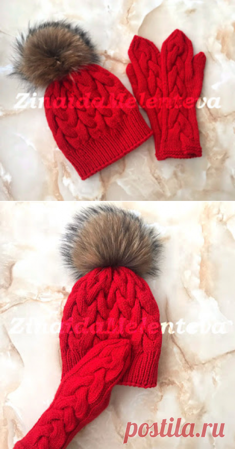 Вяжем вместе: Комплект из шапки и варежек с «объёмными косами»