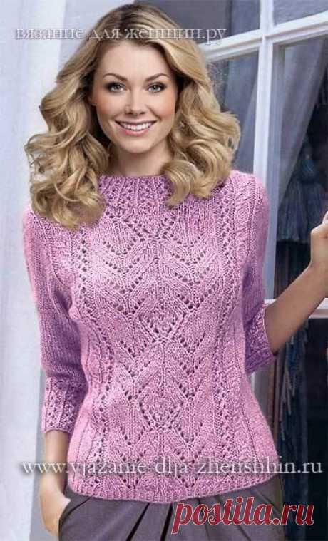 Романтичный розовый пуловер на весну спицами!