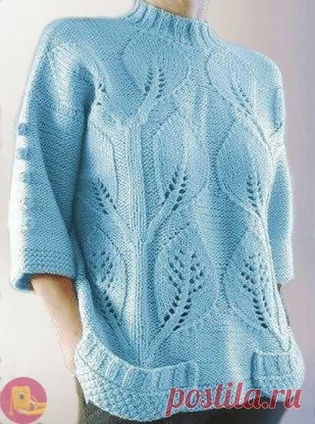 Красивый узор с крупными листочками Такой узор с крупными листочками будет хорош на больших вещах:свитерах, кофтах, легких пальто.
