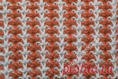 узор 229 ленивая двухцветная резинка | каталог вязаных спицами узоров