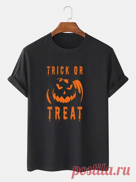 Mens 100% Cotton Letter & Pumpkin Print Halloween Short Sleeve T-Shirts - US$12.99