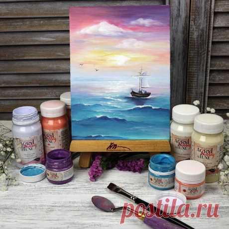 Простой пейзаж с лодкой. Рисовать легко! Морской пейзаж с парусником. Видео МК | Творческая студия TAIR | Яндекс Дзен