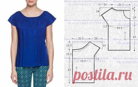 Блузка с короткими цельнокроеными рукавами и сборкой по горловине. #простыевыкройки #простыевещи #шитье #блузка #выкройка