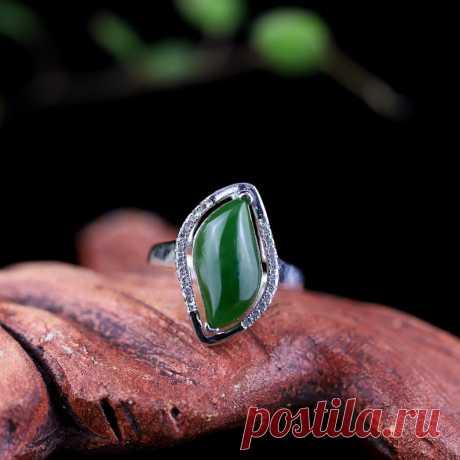 Statement Rings-Green Hetian jade Open ring 925 Silver   Etsy