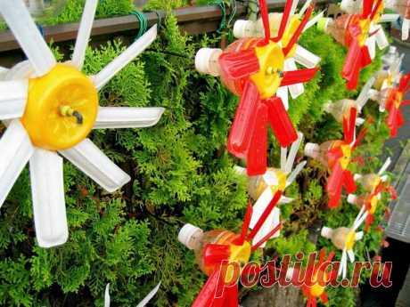 Поделки из пластиковых бутылок для декора дачи и сада: идеи, советы и 50    Декор сада   DecorWind.ru