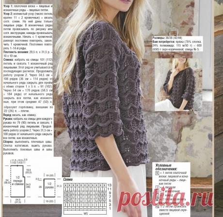 Красивый пуловер с узором ажурные волны. | Рукоделие с Яной | Яндекс Дзен