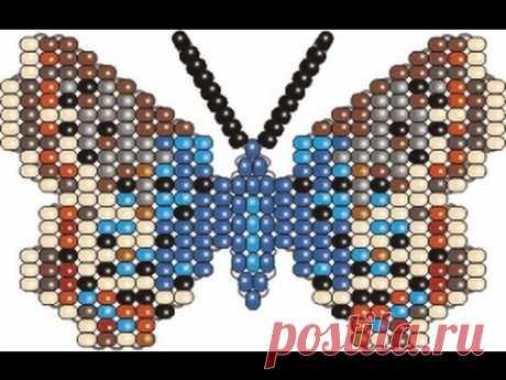Бисерная Бабочка Голубянка(плетение на проволоке)