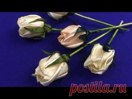 Ribbon rose buds/Сapullo de rosa de cintas/Бутон розы из лент