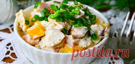 Необыкновенно вкусный салат «Людмила» с грибами, курицей и ветчиной