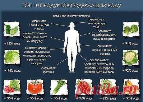 ТОП - 10 Основные продукты, содержащие воду