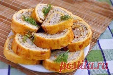 Сырный рулет с куриным фаршем - Перчинка хозяюшка
