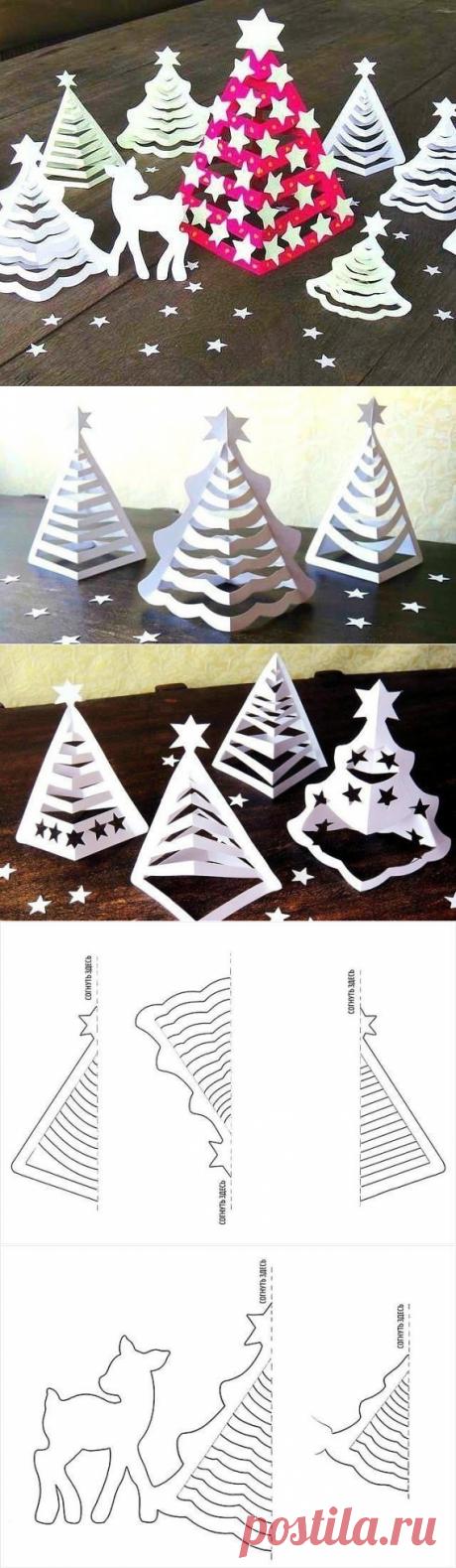 3D-ёлочка из бумаги. Интересная идея для декора