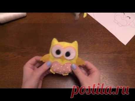 Owl from felt the hands \/ Owl of felt