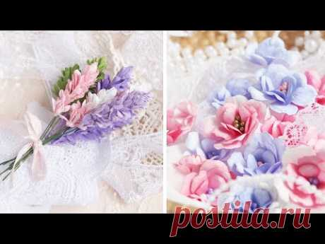 4 ИДЕИ цветов из бумаги / Бумажные цветы своими руками / Цветы для скрапбукинга / DIY paper flowers
