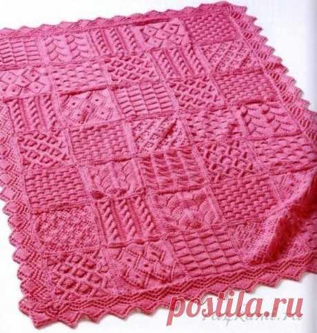 Эффектное одеяло вязаное спицами, описание по ссылке: https://ru4kami.ru/vyazhem-dlya-doma/351-effektnoe-odeyalo-spicami.html