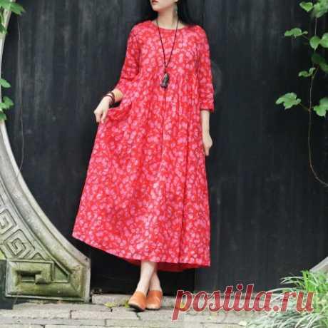 Italian red print cotton tunics for women Korea Fabrics o neck pockets Robe Summer Dresses - Summer Dresses