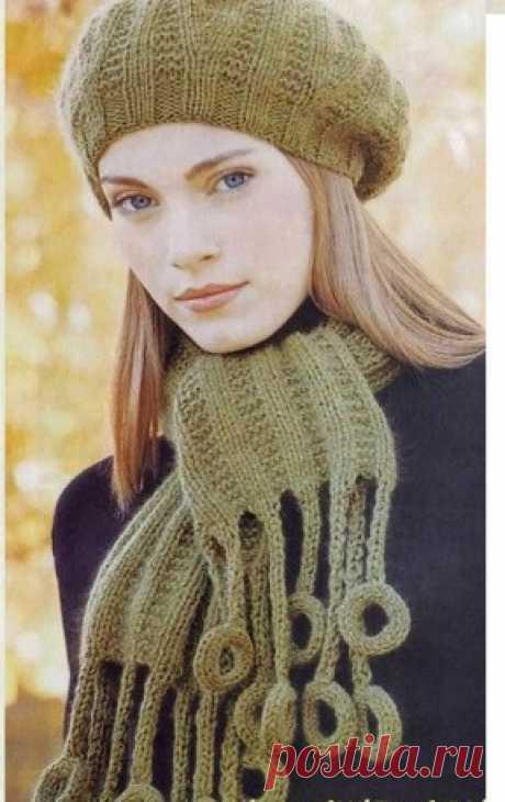 Шапочка и шарф с колечками  