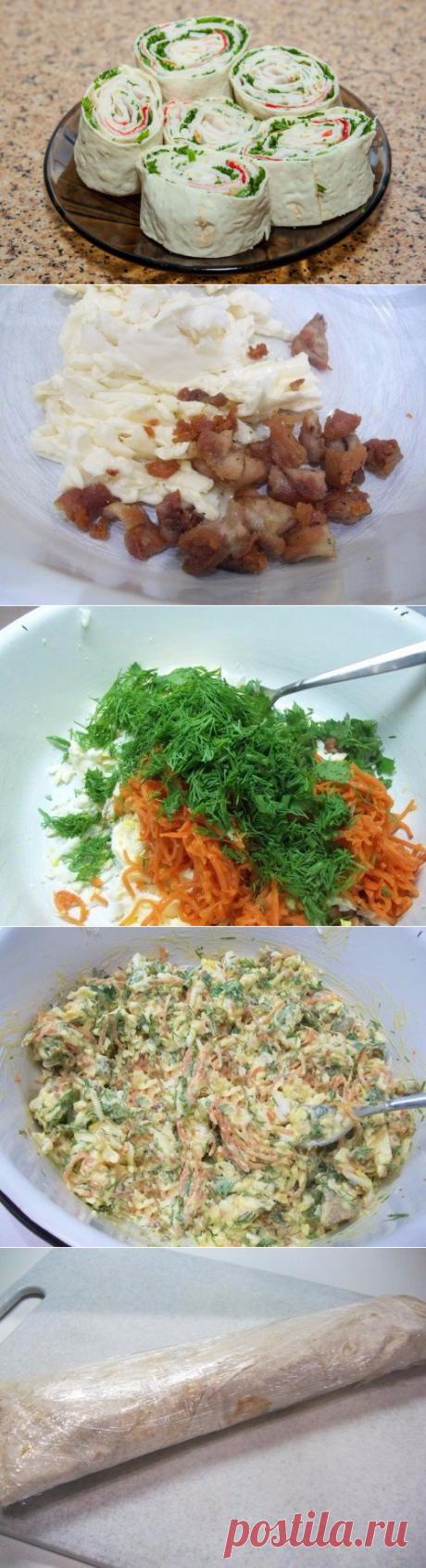 Как приготовить быстрая закуска из лаваша с еврейским салатом - рецепт, ингридиенты и фотографии