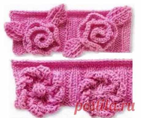 Объемные цветы спицами - розы и ноготки
