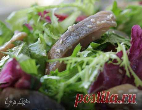 Салат с сельдью по-восточному, автор Юлия Высоцкая - Я пробовала этот салат со свежей сельдью — очень вкусно, но если селедка у вас соленая, то лучше вымочить ее в молоке. А маринад замечателен и с сырой рыбой, свининой, курицей или рыбой на гриле. Вместо радиккио можно взять листья любого салата, который вам нравится.