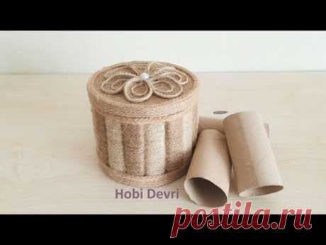 DIY Storage Box with Paper Roll and Jute,Jewellery Box İdeas, Paper Roll Recycle, Paper Roll İdeas - YouTube