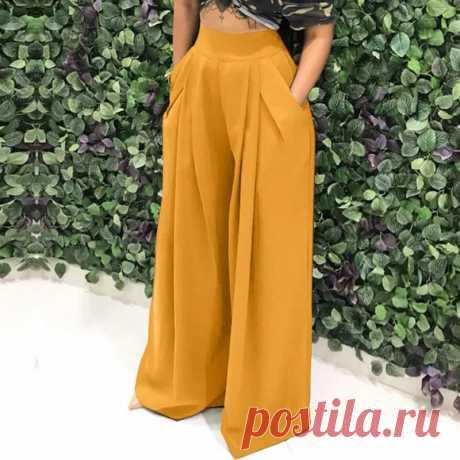 Женские свободные брюки Palazzo, длинные плиссированные брюки с высокой талией и карманами на осень | Брюки |