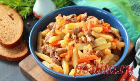 Азу по-татарски с солеными огурцами Сытный обед с неповторимым вкусом