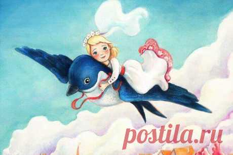 """Иллюстрация к сказке """"Дюймовочка"""" где изображена крохотная девочка, уместившаяся на небольшой птичке."""