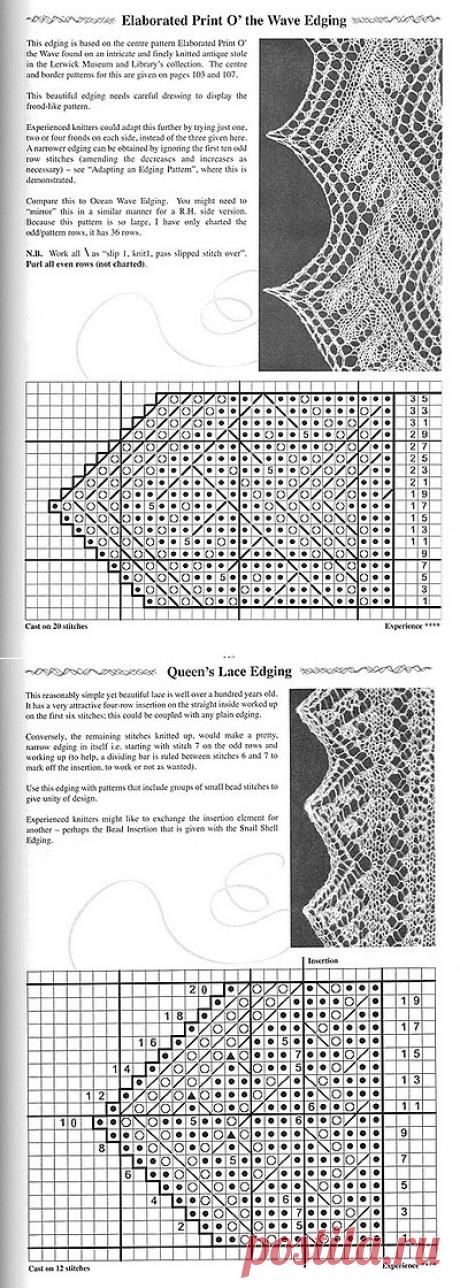 Коллекция узоров каймы для шалей спицами ( 34 узора).
