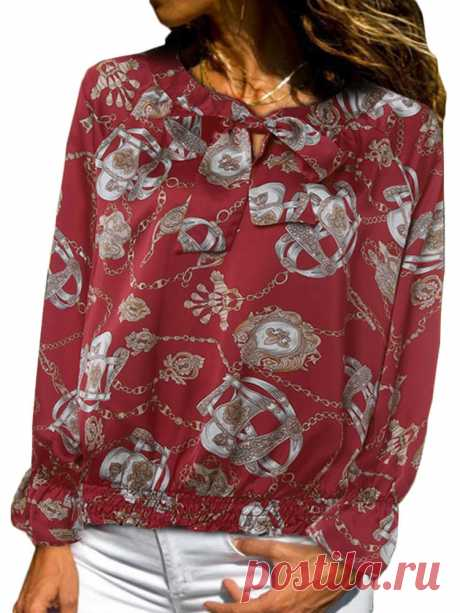 Women Vintage Satin Print Long Sleeve Elastic Hem Shirts with Bow - US$15.99