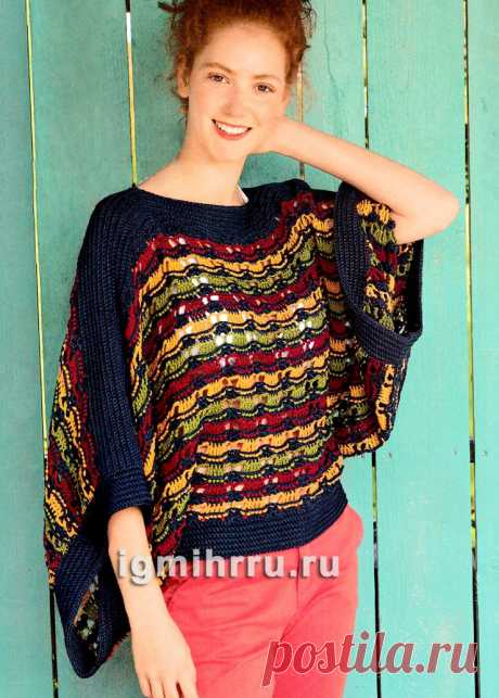 Пуловер с очень широкими рукавами. Вязание крючком со схемами и описанием
