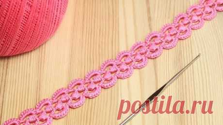 Ленточное кружево с витыми столбиками - вязание крючком - Crochet