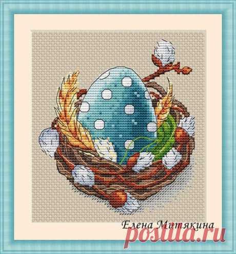 """Доброе утро! В честь сегодняшнего праздника, нарисовалась бесплатная схема  """"Гнёздышко"""" Размер в крестиках - 63х70 Размер на 14 каунте - 11,5х13 см. Стежки - крест, 3/4 креста (пятнышки на яйце), полукрест, бэкстич. Цвета DMC - 21 + 4 бленда.  Хороших вам выходных!  За  и  буду благодарна!"""