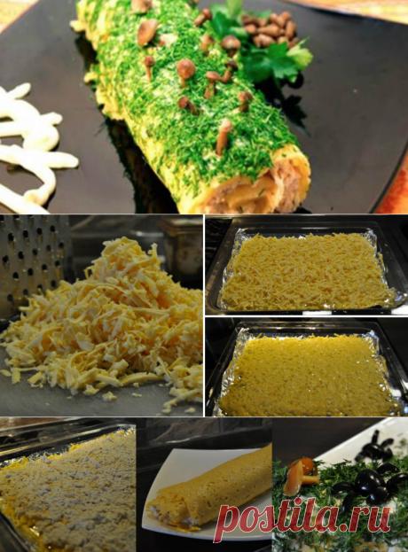 Рулет «Ведьмино полено» из сыра с курицей