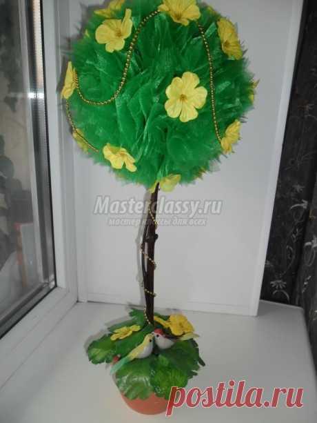 Топиарий из органзы и искусственных цветов. Райский сад. Мастер-класс с пошаговыми фото