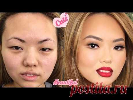 До и после. Азиатский макияж. Чудеса Макияжа. Школа Гоар Аветисян. Нереальное перевоплощение