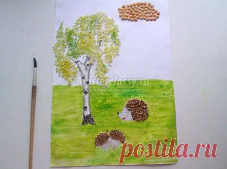 """Картина из крупы """"Осень"""". Мастер-класс с пошаговыми фото"""