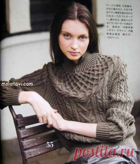 Вязаный пуловер спицами на кокетке | Вяжем с Лана Ви