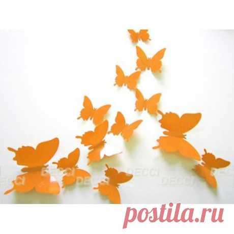 DECCIDECCI.RU интернет магазин наклеек. Купить наклейку на стену Бабочки оранжевый 3D