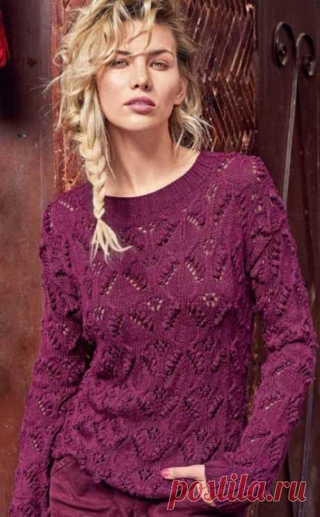 Малиновый пуловер с «листочками и шишечками»