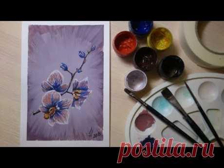 Рисуем орхидею (гуашь)