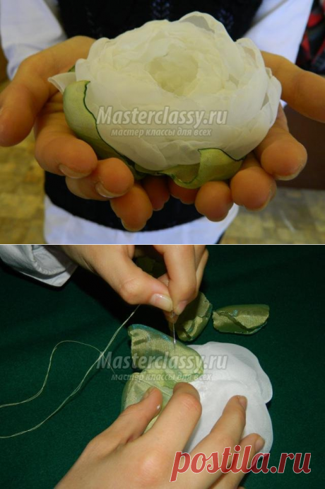 Цветок из органзы своими руками в подарок маме. Мастер-класс с пошаговыми фото