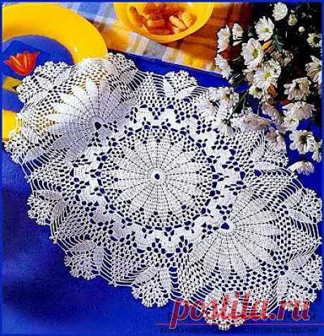 Схема вышивки розы на салфетку - Как связать овальную салфетку своими руками крючком, схемы