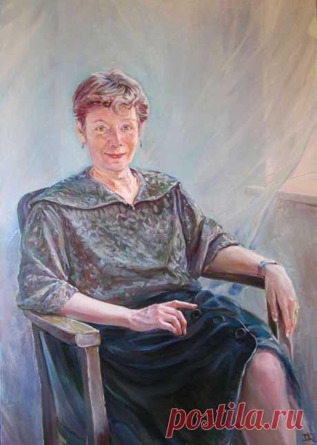 "портрет Моники сделан на заказ. ""Учительница английского языка"".  Холст, масло  размер 100х81см Цена    1000$"