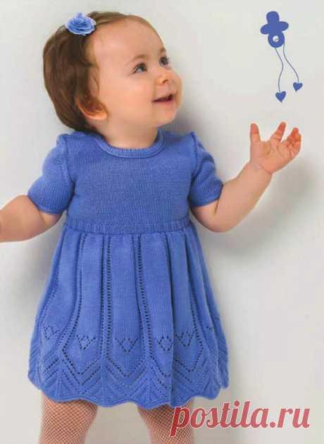 Вязаное платье для девочки до года: схема вязания спицами с описанием - Портал рукоделия и моды