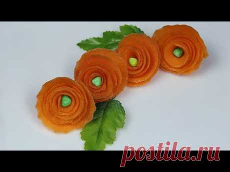 how to quickly make flowers from vegetables.Green cucumber rose. FOOD Flowers