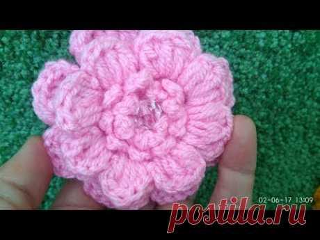 Вязаные цветы крючком - объемный цветок/Knit Crochet - surround flower