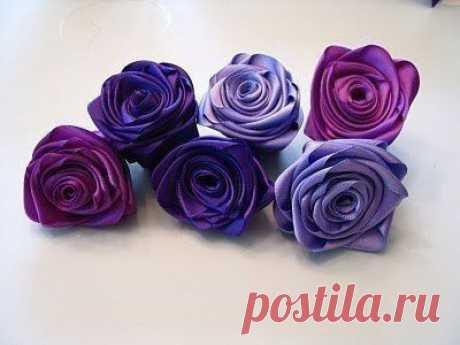 Красивые цветы из лент: мастер класс